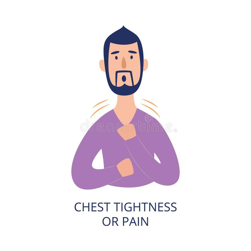 Man holding his chest having pain or tightness in it flat cartoon style. Vector illustration isolated on white background. Male person with health problem as royalty free illustration