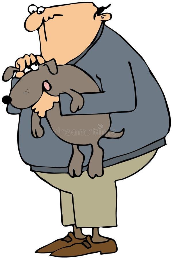 Download Man Holding His Dog stock illustration. Illustration of friend - 18363936