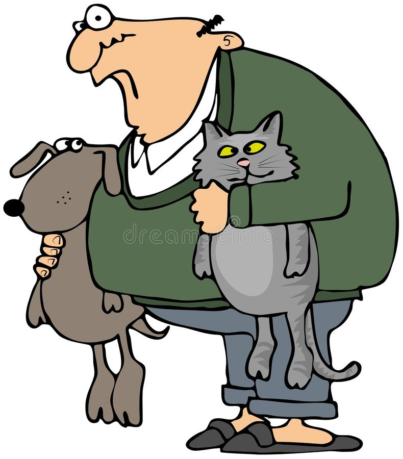 Download Man Holding His Pets stock illustration. Illustration of canine - 18098747