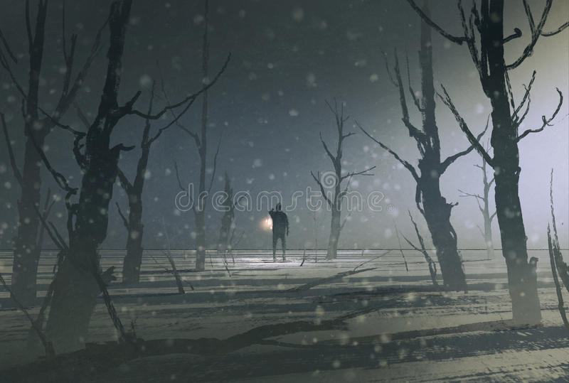 Man holding lantern stands in dark forest with fog royalty free illustration