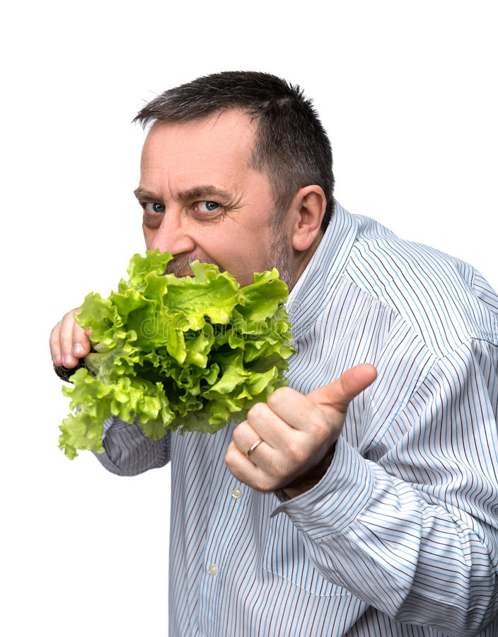 Man holding lettuce isolated on white. Healthy food. Man holding lettuce isolated on white royalty free stock images