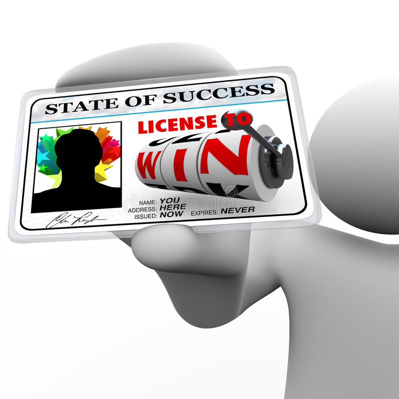 Man Holding License To Win As Identification Card Royalty Free Stock Images