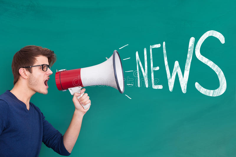 Man Holding Megaphone with News Announcement stock photo