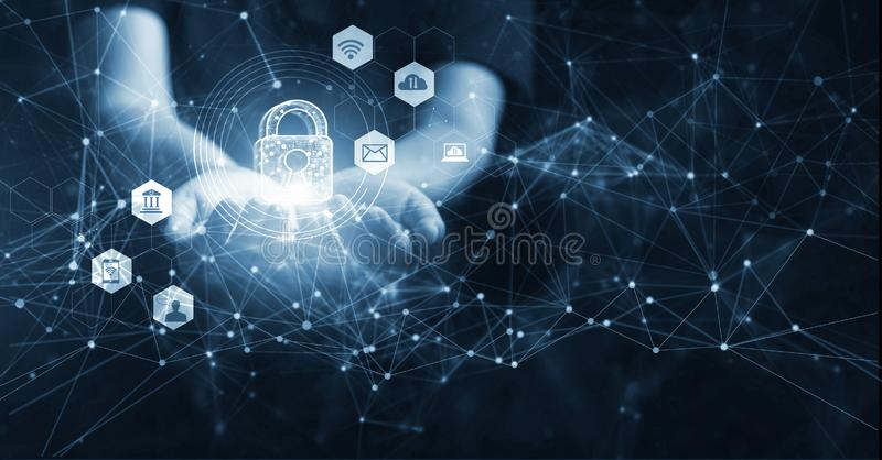 Man holding network security in hands, global. Cyber security and information or data networking protection. Privacy business internet technology royalty free stock photo