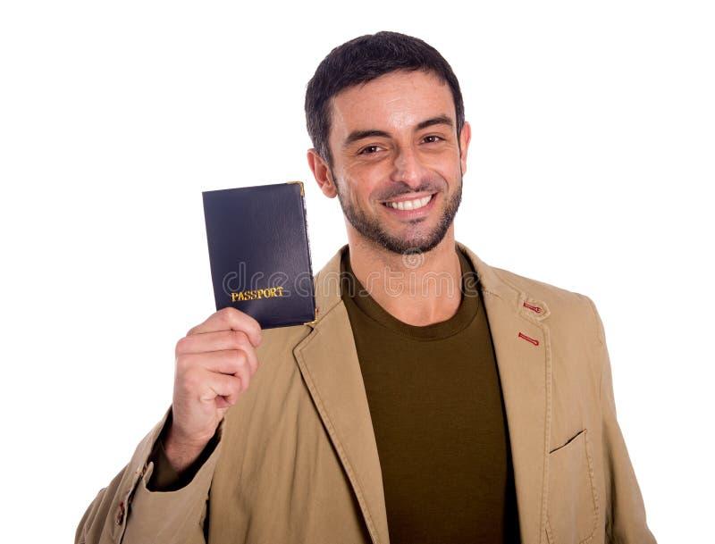Man holding passport stock image