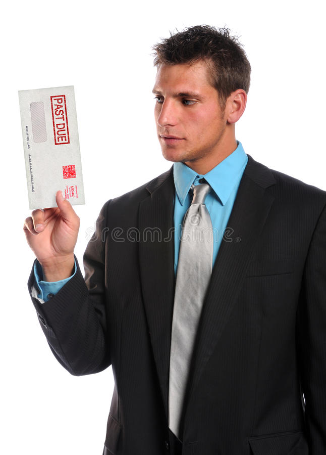 Man Holding Past Due Envelope royalty free stock images