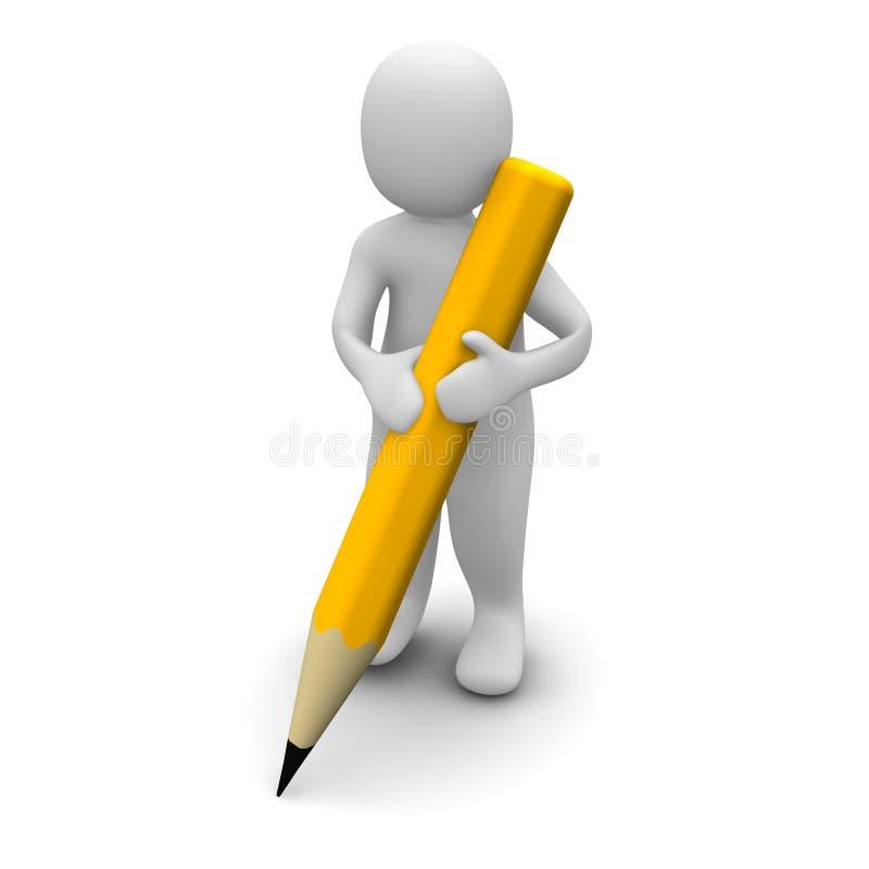 Man holding pencil vector illustration