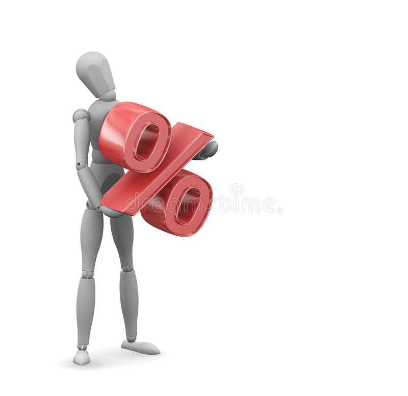 Man holding percentage sign stock illustration