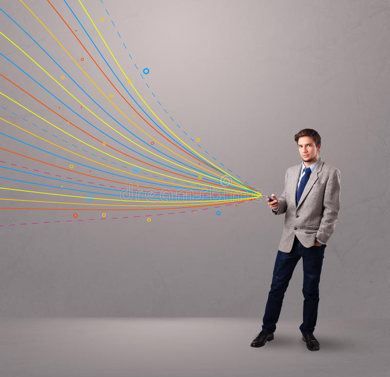 Download Man Holding A Phone With Colorful Abstract Lines Stock Photo - Image of digital, electronic: 28063116