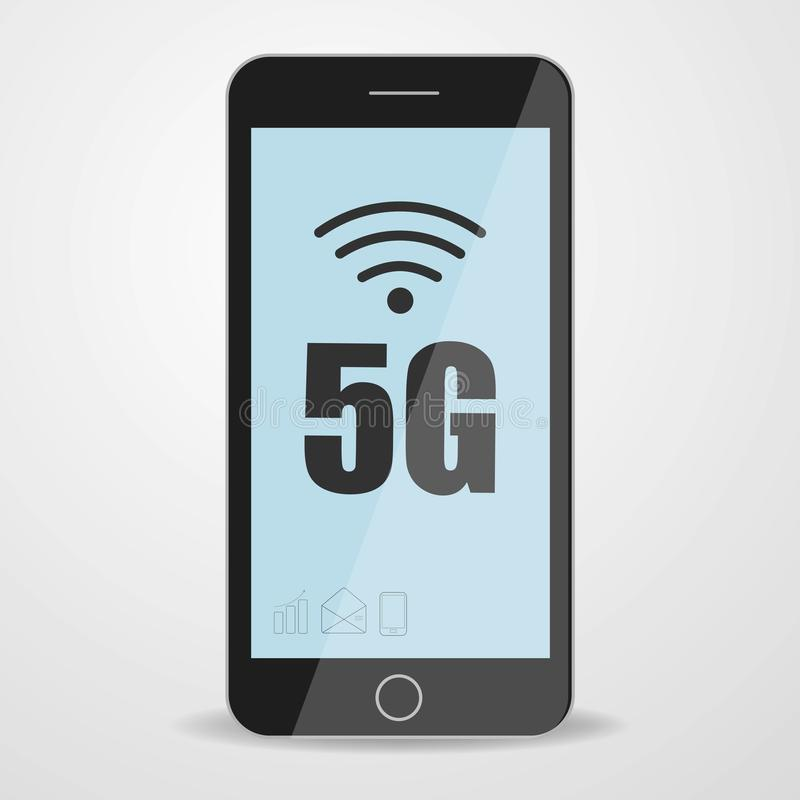 Man holding phone with 5G mobile network logo on screen. Fifth generation wireless network royalty free illustration