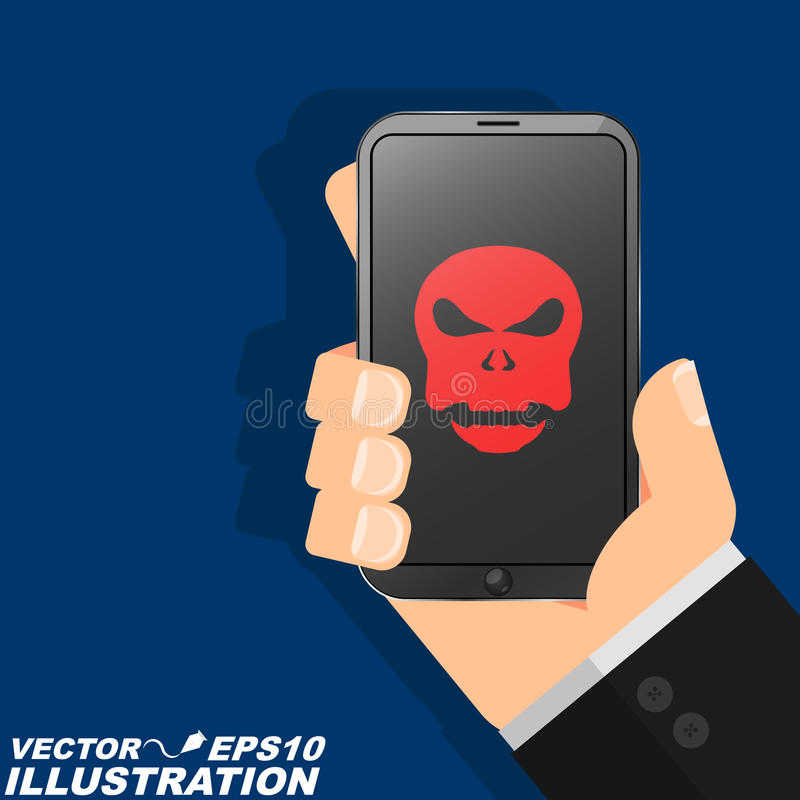 A man is holding a phone hacked in his hand. The red skull burns on the modern screen and indicates a serious danger. Flat style royalty free illustration