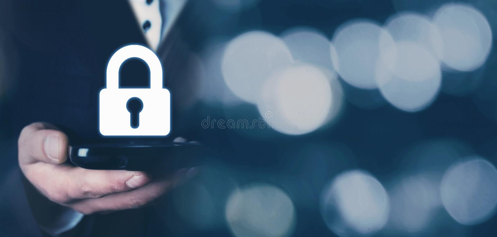 Man holding phone. Mobile and internet security concept stock images