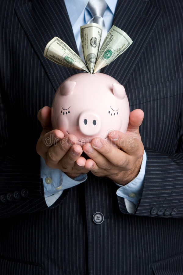 Download Man Holding Piggy Bank stock photo. Image of hands, business - 8742588
