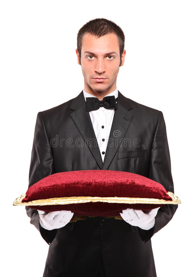 Download Man Holding A Pillow Royalty Free Stock Images - Image: 15143649