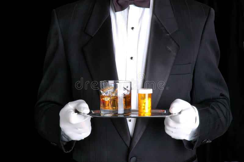 Download Man Holding Pills And Cocktail On Silver Tray Stock Photo - Image of servant, glass: 5466588