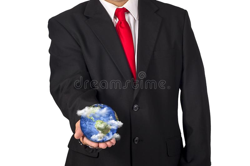 Politician Holding Planet Earth In Hand With Floating Clouds stock photography