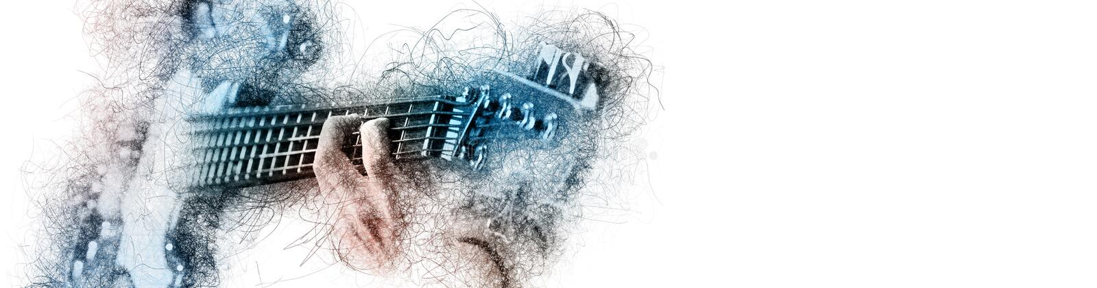 Man holding playing a guitar, blue brown color image with digital effects sketch silhouette on white panoramic background copy stock illustration