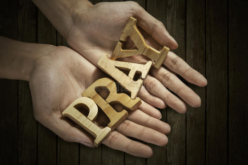 Download Man Holding Pray Word In Palm Stock Image - Image: 38410111