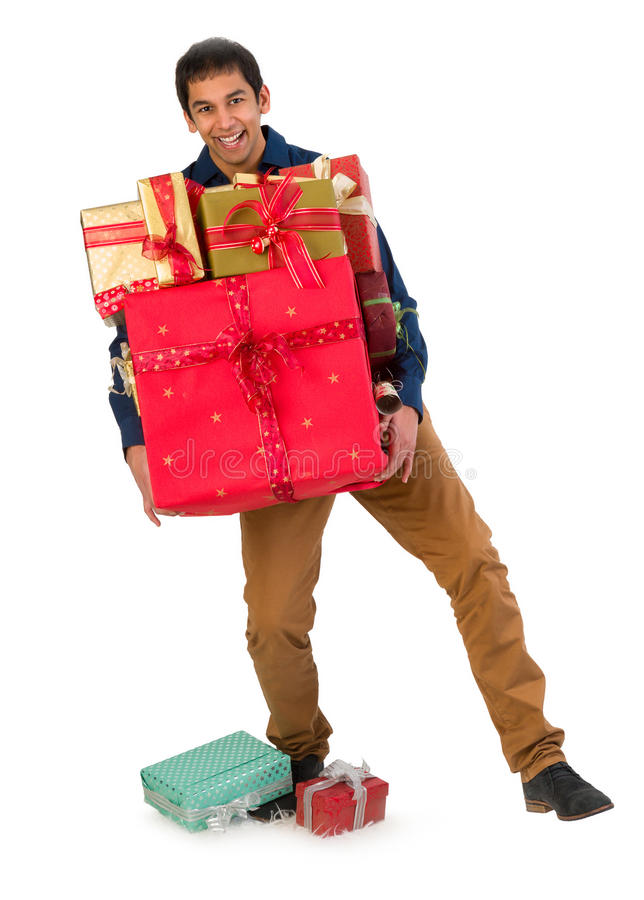 Man holding presents royalty free stock photography