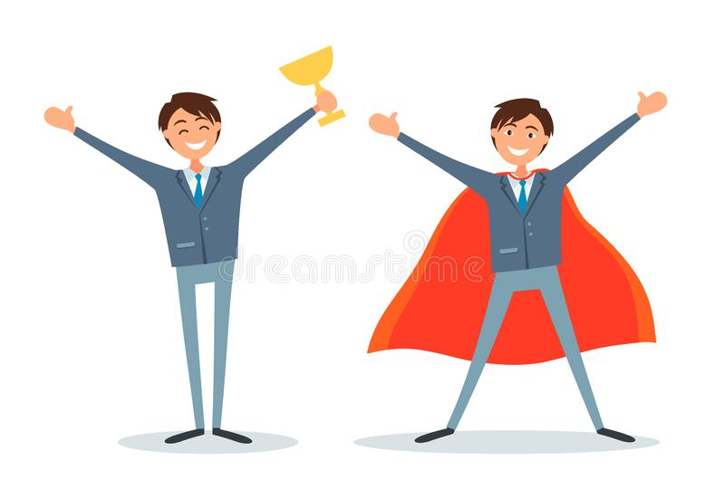 Man Holding Prize Cup and Business Superman Boss vector illustration