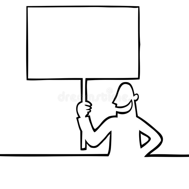 Man holding a protest sign stock vector illustration of for Scarica clipart
