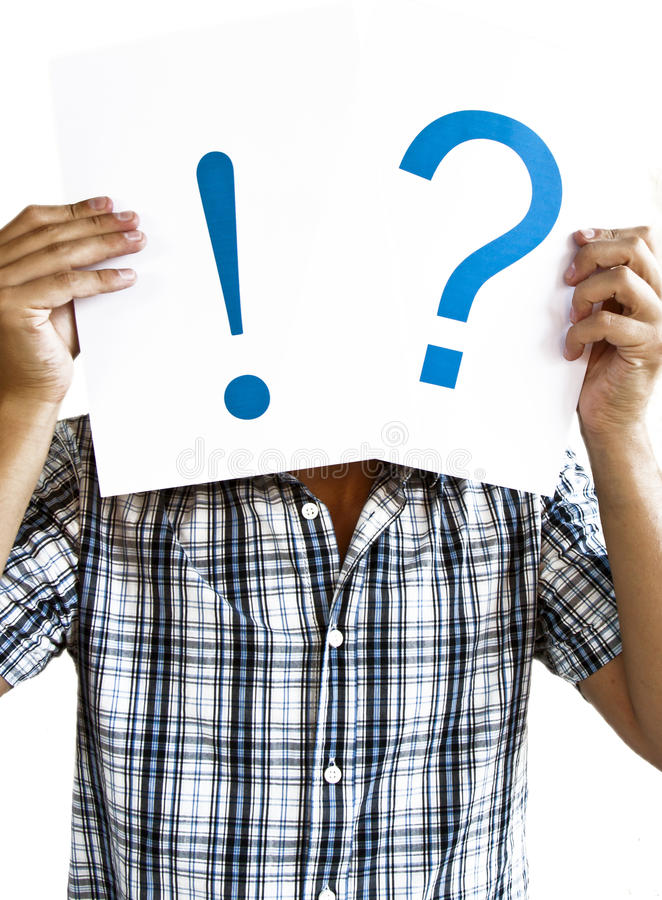 Man Holding a question mark and exclamation point royalty free stock image