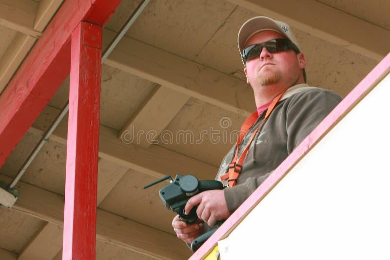 Man holding radio controller royalty free stock photo