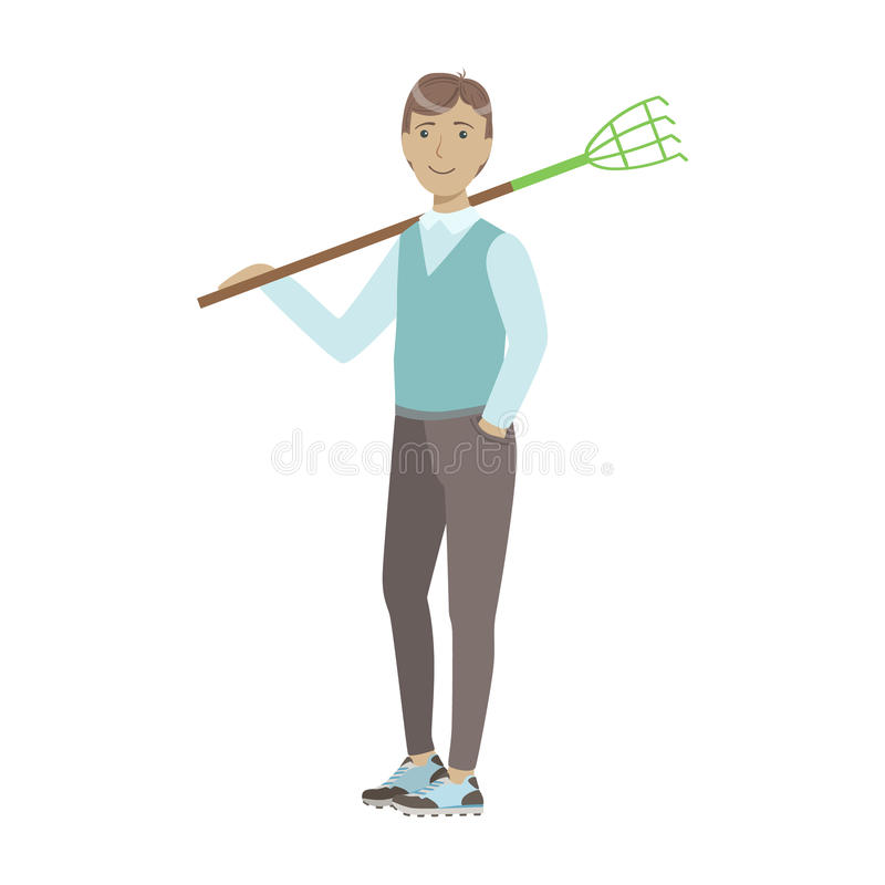 Man Holding Rake On His Shoulder, Cartoon Adult Characters Cleaning And Tiding Up. Smiling Person With House Cleanup Tool Doing Up Vector Illustration stock illustration
