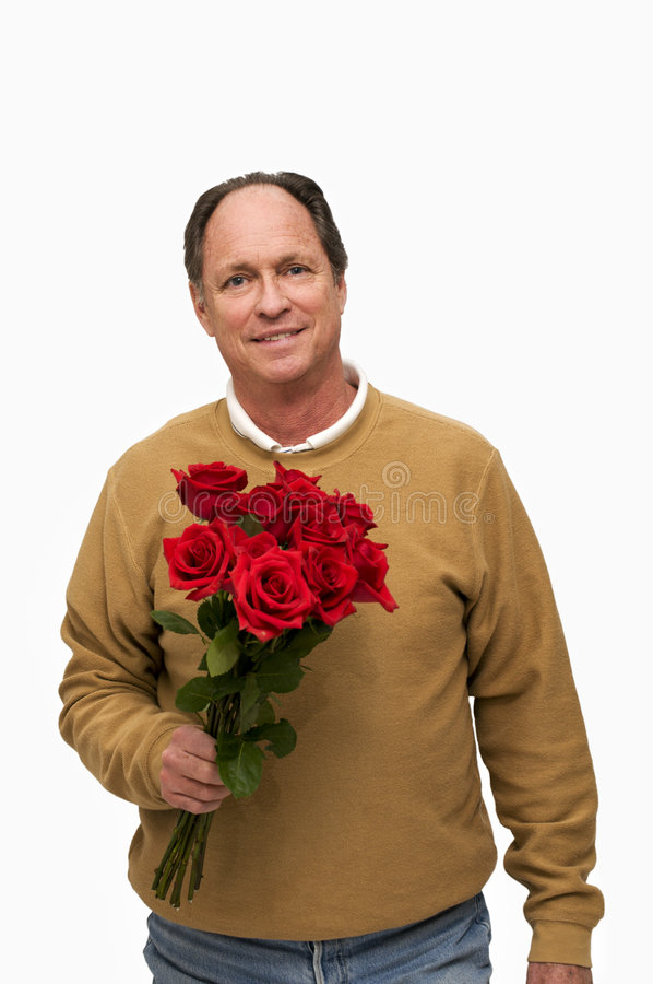 Free Man Holding Red Roses Stock Image - 8232161