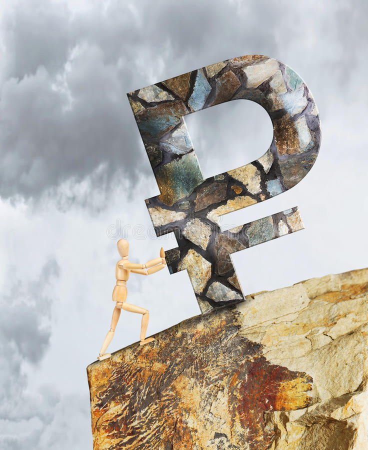 Man holding the Ruble from falling down a cliff. Abstract image with a wooden puppet royalty free stock photography