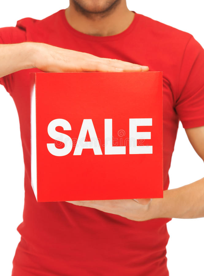 Man Holding Sale Sign Royalty Free Stock Images