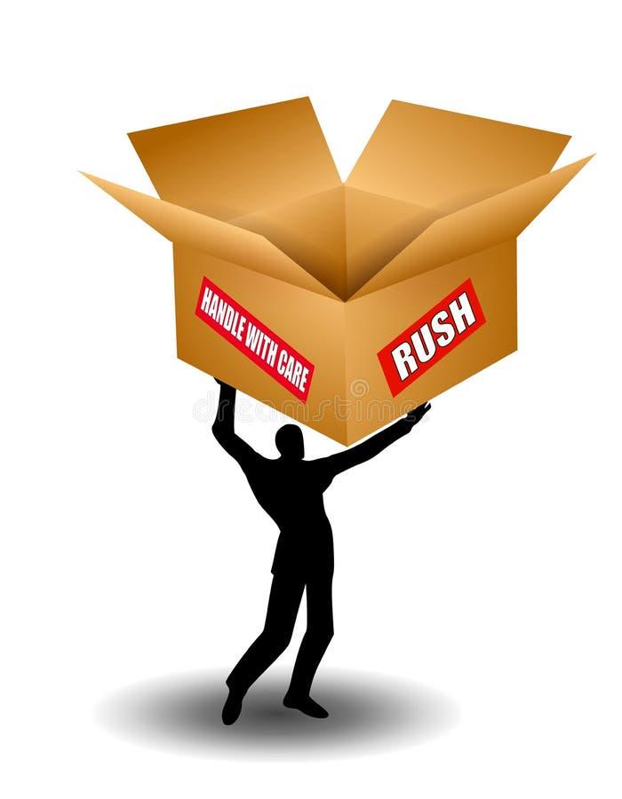 Man Holding Shipping Box Stock Photo