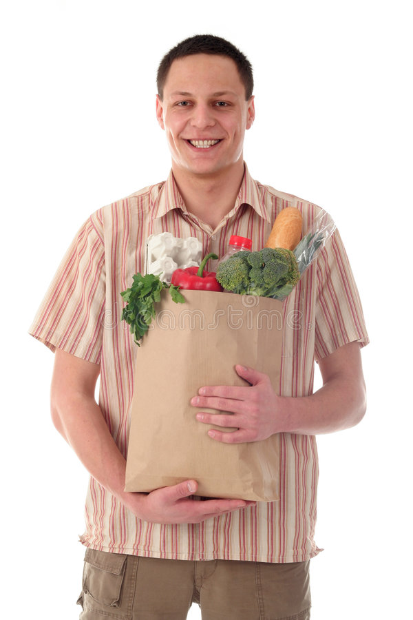 Free Man Holding Shopping Bag Royalty Free Stock Photo - 702455
