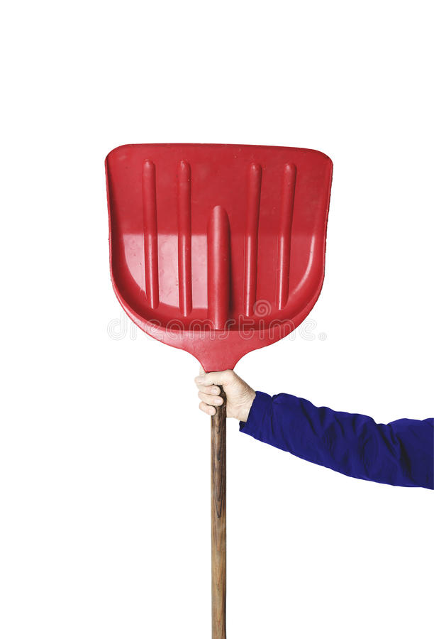 Man holding the shovel on the white background royalty free stock images