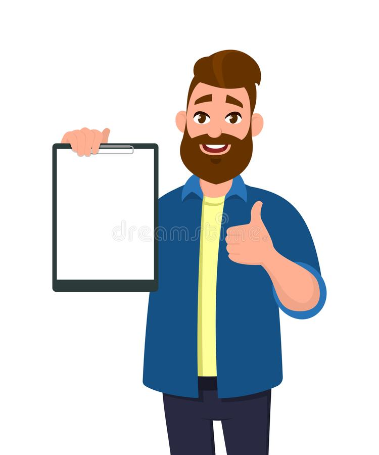 Man holding/showing a blank clipboard/record/document/report and showing thumbs up or like sign. Vector illustration in cartoon. Man holding/showing a blank stock illustration