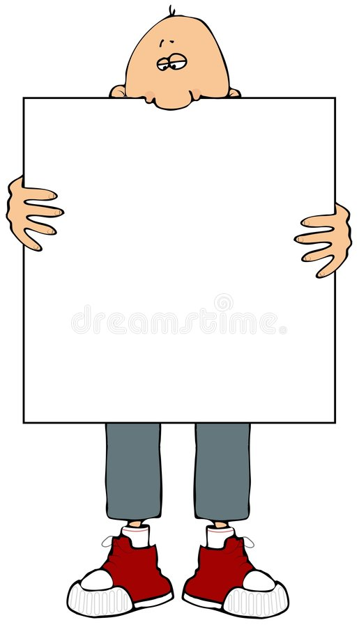 Man Holding A Sign vector illustration