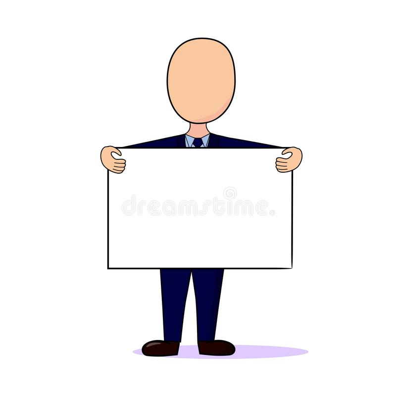 Man holding a sign announcement royalty free stock image