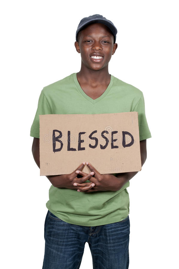 Man Holding Sign that says Blessed royalty free stock images