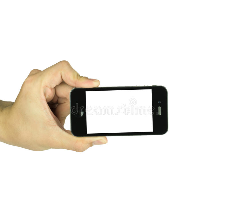 Man holding smart phone similar to iphone with isolated screen i. N hand, isolated on a white royalty free stock photo