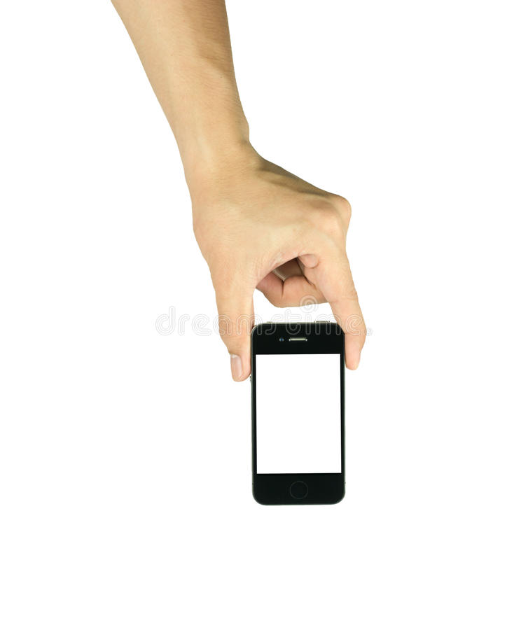 Man holding smart phone similar to iphone with isolated screen i. N hand, isolated on a white stock photo