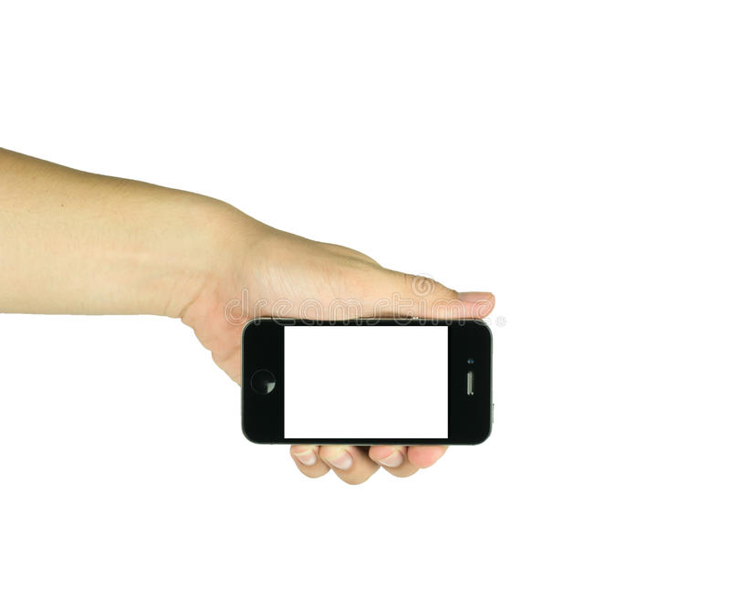 Man holding smart phone similar to iphone with isolated screen i. N hand, isolated on white stock photography
