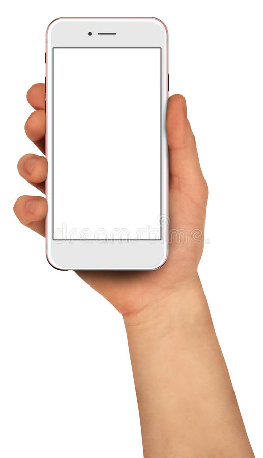 Man holding smartphone with blank screen. High detailed. Rose gold smartphones with blank screen, isolated on white background - high detailed realistic royalty free stock photo