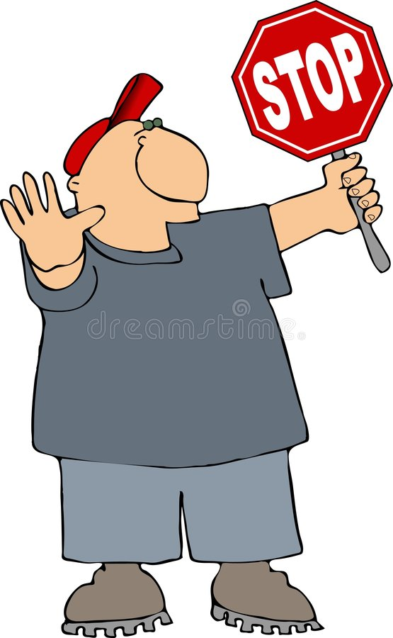 Download Man holding a stop sign stock illustration. Illustration of stop - 1369071