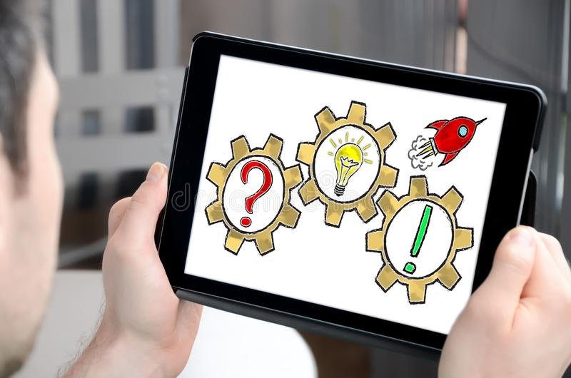 Problem solving concept on a tablet stock photos