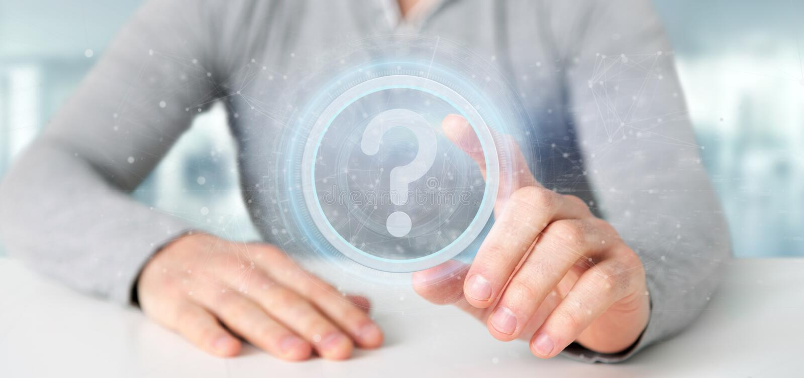 Man holding a Technology question mark icon on a circle 3d rendering. View of a Man holding a Technology question mark icon on a circle 3d rendering stock photography