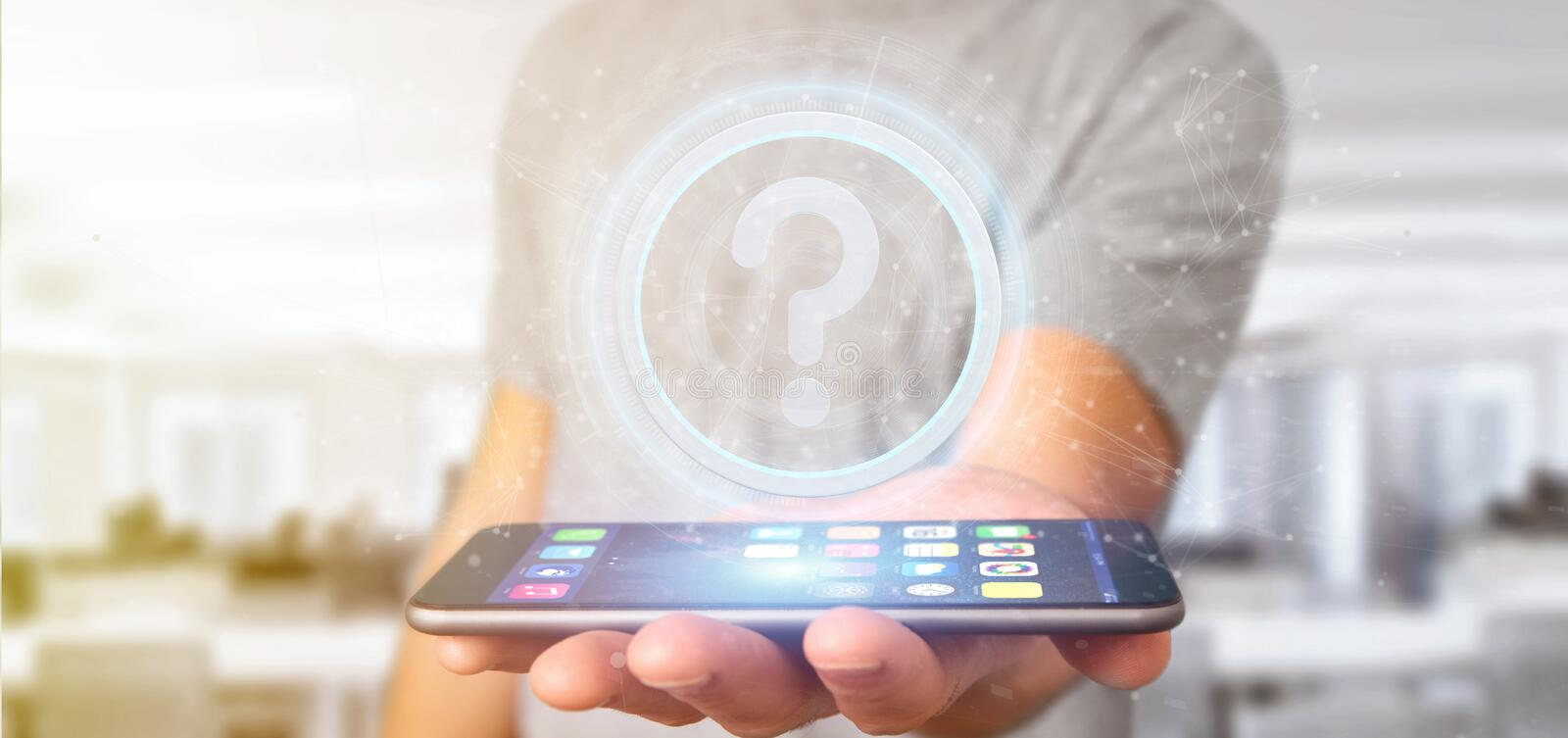 Man holding a Technology question mark icon on a circle 3d rendering. View of a Man holding a Technology question mark icon on a circle 3d rendering stock image