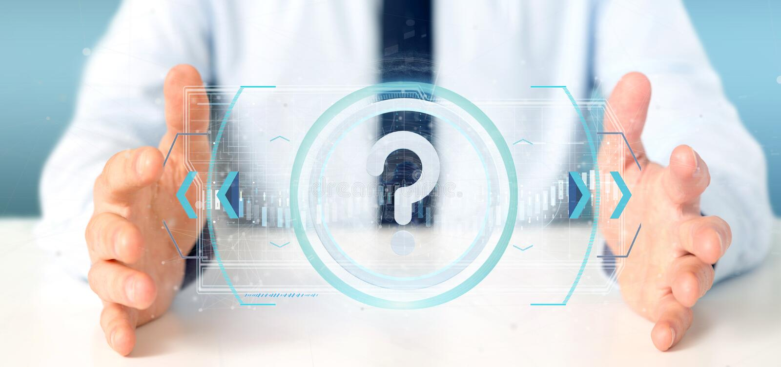 Man holding a Technology question mark icon on a circle 3d rende. View of a Man holding a Technology question mark icon on a circle 3d rendering stock image