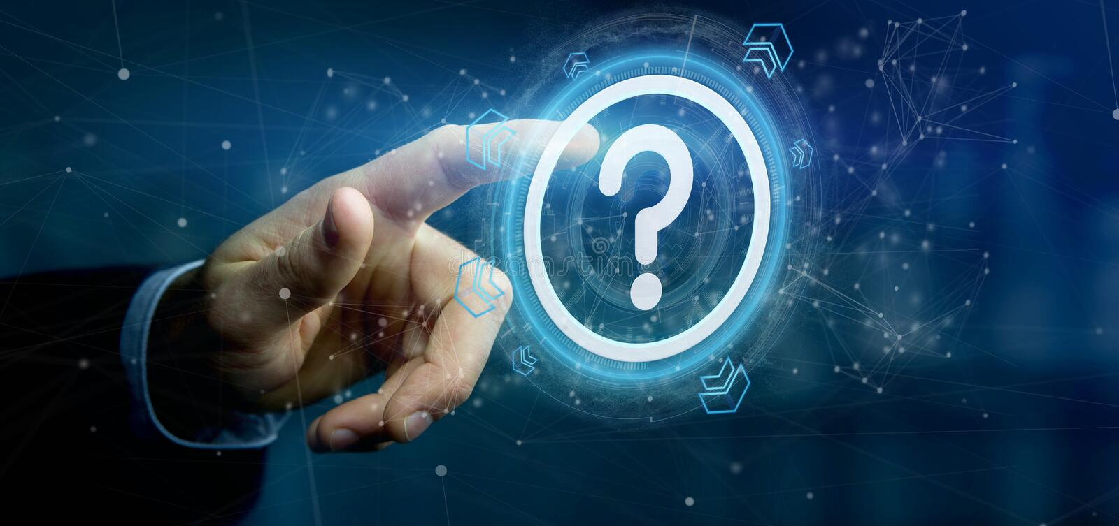Man holding a Technology question mark icon on a circle 3d rendering. View of a Man holding a Technology question mark icon on a circle 3d rendering royalty free stock photo