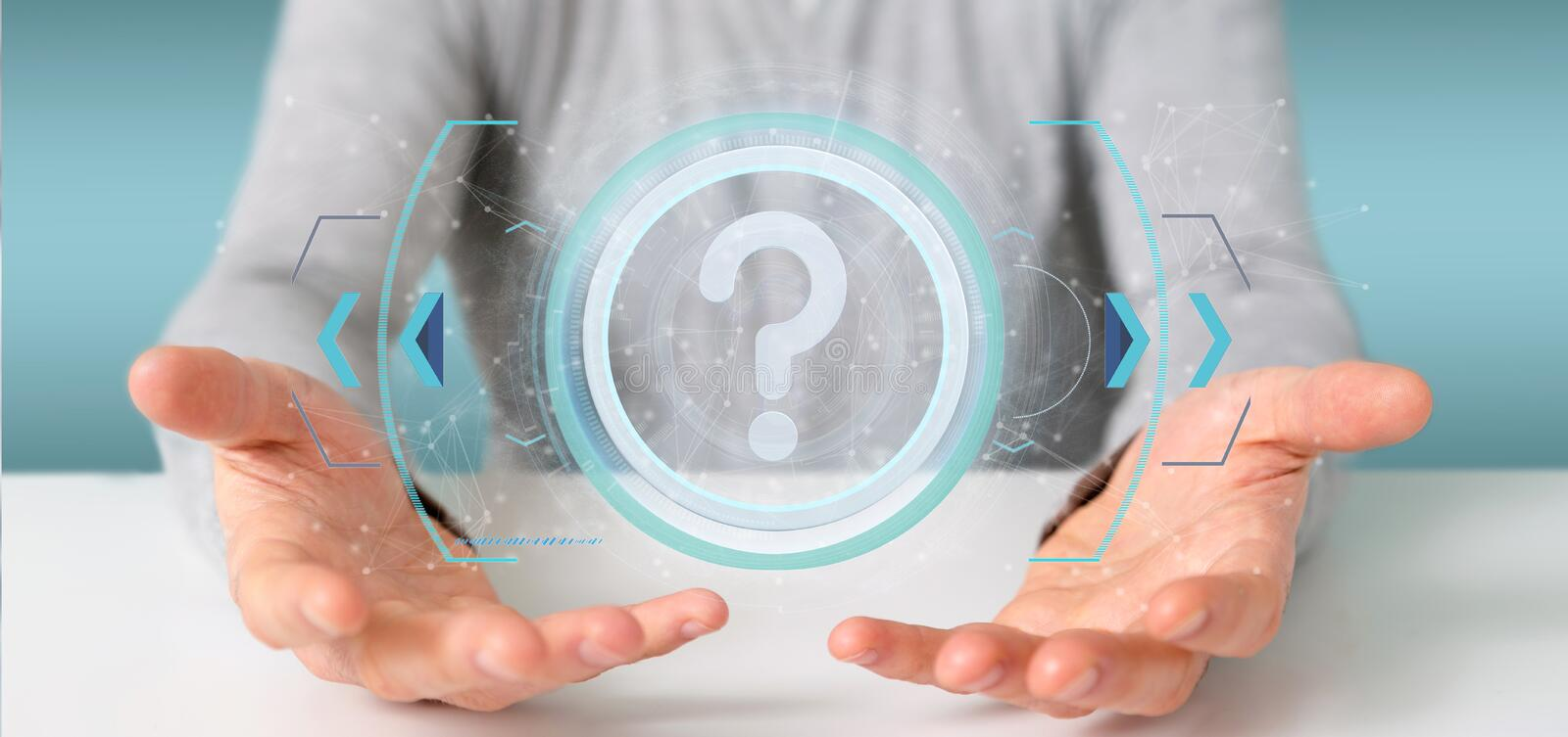 Man holding a Technology question mark icon on a circle 3d rendering. View of a Man holding a Technology question mark icon on a circle 3d rendering stock images