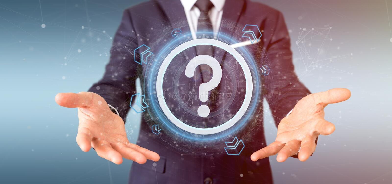 Man holding a Technology question mark icon on a circle 3d rendering. View of a Man holding a Technology question mark icon on a circle 3d rendering stock photos